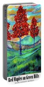 Red Maples On Green Hills With Name And Title Portable Battery Charger