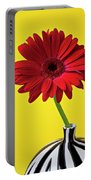 Red Mum Against Yellow Background Portable Battery Charger