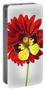 Red Mum With Dogface Butterfly Portable Battery Charger by Garry Gay