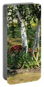 Red Mums And Birch Trees Portable Battery Charger