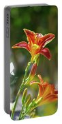 Red Orange Day Lilies I Portable Battery Charger