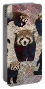 Red Panda Abstract Mixed Media Digital Art Collage Portable Battery Charger