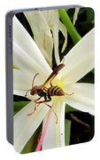 Red Paper Wasp And Spider Lily 000 Portable Battery Charger