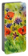 Red Poppies And Cornflowers Portable Battery Charger