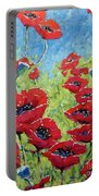 Red Poppies By Prankearts Portable Battery Charger