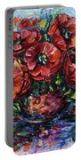 Red Poppies In A Vase Portable Battery Charger