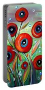 Red Poppies In Grass Portable Battery Charger