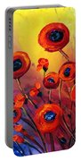 Red Poppies In Rain Portable Battery Charger