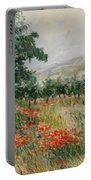 Red Poppies In The Olive Garden Portable Battery Charger