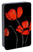 Red Poppies On Black By Sharon Cummings Portable Battery Charger