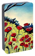 Red Poppies Under A Blue Sky Portable Battery Charger