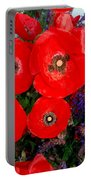 Red Poppy Cluster With Purple Lavender Portable Battery Charger