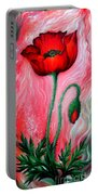 Red Poppy Flower. Pink Sunset Portable Battery Charger