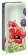 Red Poppy Purple Allium IIi - Retro Modern Patterns Portable Battery Charger