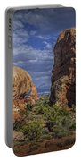 Red Rock Formations On A Desert Plateau In Utah Portable Battery Charger