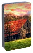 Red Roof At Sunset Portable Battery Charger