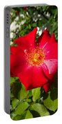 Red Rose In Summer Portable Battery Charger