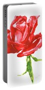 Red Rose Watercolor Painting Portable Battery Charger