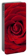Red Rose With Dew Portable Battery Charger by Garry Gay