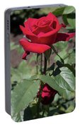 Red Rose With Stem Portable Battery Charger