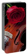 Red Rose With Violin Portable Battery Charger by Garry Gay