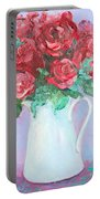 Red Roses In White Jug Portable Battery Charger by Jan Matson
