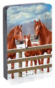 Red Sorrel Quarter Horses In Snow Portable Battery Charger