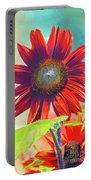 Red Sunflowers At Sundown Portable Battery Charger