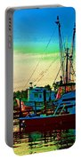 Red Sunrise And The Shrimp Boat Portable Battery Charger