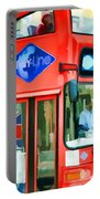 Red Tourist Bus In New York Portable Battery Charger