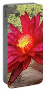 Red Water Lily Portable Battery Charger