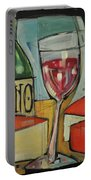 Red Wine And Cheese Poster Portable Battery Charger