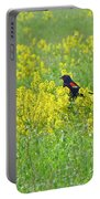 Red-winged Blackbird In Wild Mustard Portable Battery Charger