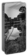Redd's Pond Lupines Sunrise Black And White Portable Battery Charger
