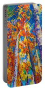 Redemption - Fall Birch And Aspen Portable Battery Charger by Talya Johnson