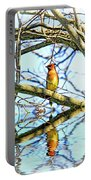 Refection Of Cedar Waxwing Portable Battery Charger