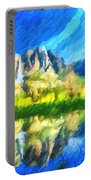 Reflection In Merced River Of Yosemite Waterfalls Portable Battery Charger