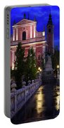 Reflections On Wet Triple Bridge After Rain At Dawn With Lights  Portable Battery Charger