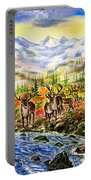 Reindeer Herd At The Watering Hole. Portable Battery Charger