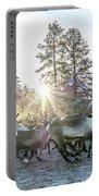 Reindeer On Autumn Sun Portable Battery Charger
