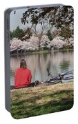 Relaxing Under Cherry Blossoms Portable Battery Charger