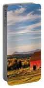 Red Barn Autumn Landscape Portable Battery Charger
