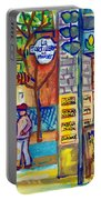 Restaurant La Tortilleria Du Marche Montreal Watercolor Streetscenes Little Italy Paintings Cspandau Portable Battery Charger