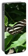 Resting - Black And White Butterfly Portable Battery Charger
