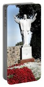 Resurrection Of Jesus Statue Portable Battery Charger by Rose Santuci-Sofranko