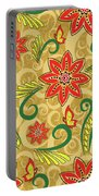 Retro Floral Seamless Pattern Portable Battery Charger
