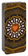 Retro Peace With Love And A Heart Of Gold Portable Battery Charger