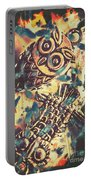 Retro Pop Art Owls Under Floating Feathers Portable Battery Charger