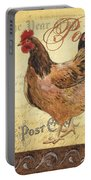 Retro Rooster 1 Portable Battery Charger by Debbie DeWitt