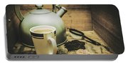 Retro Vintage Toned Tea Still Life In Crate Portable Battery Charger